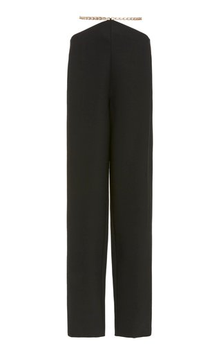 Chain-Detailed Wool-Blend Pants