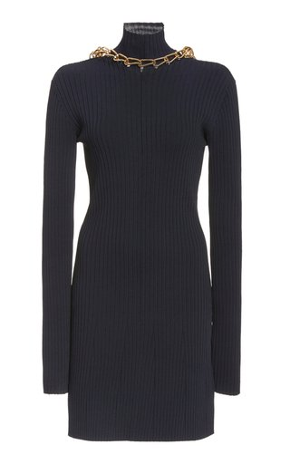 Chain-Detailed Ribbed-Knit Dress