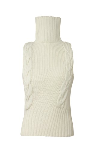 Sleeveless Cable-Knit Turtleneck Top