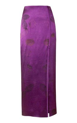 Slit Silk Pencil Skirt