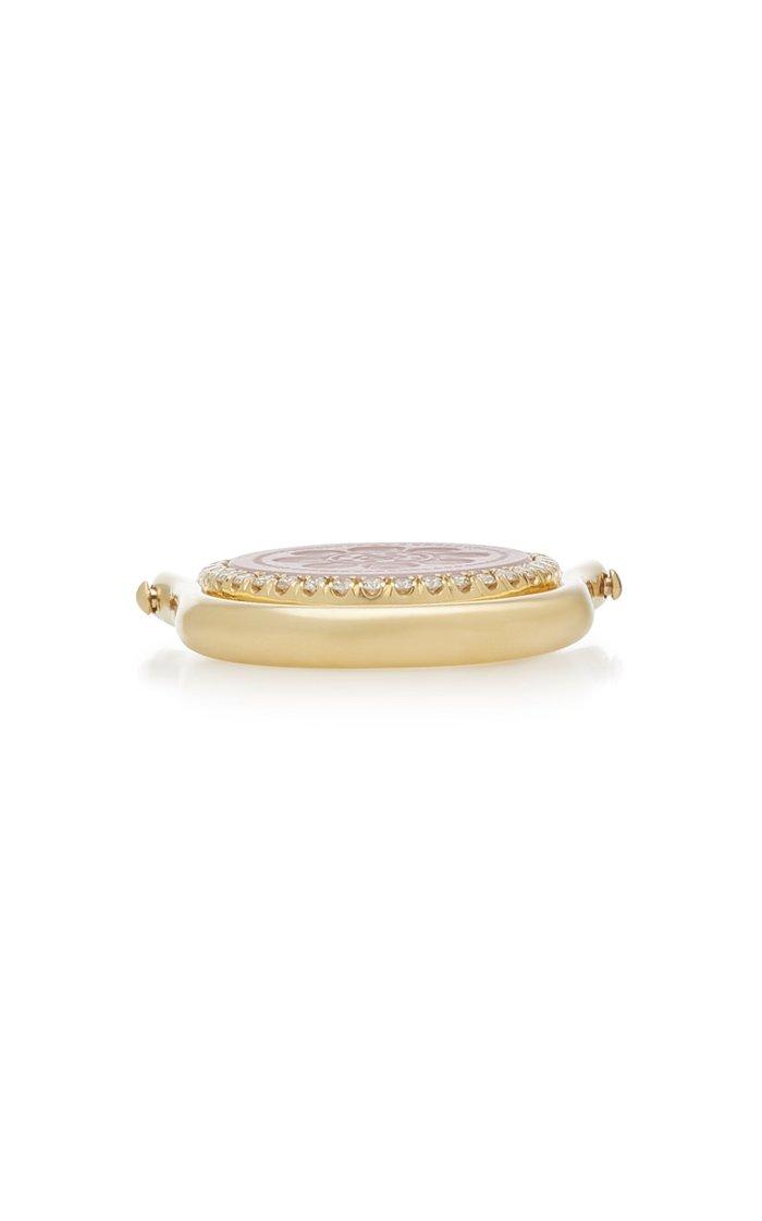 Flip 18K Gold, Diamond And Rose Quartz Ring