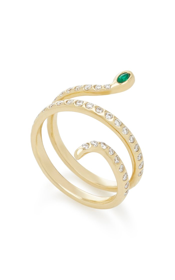 18K Gold, Diamond And Emerald Ring