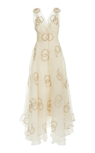 Bloom Embellished Silk Gown