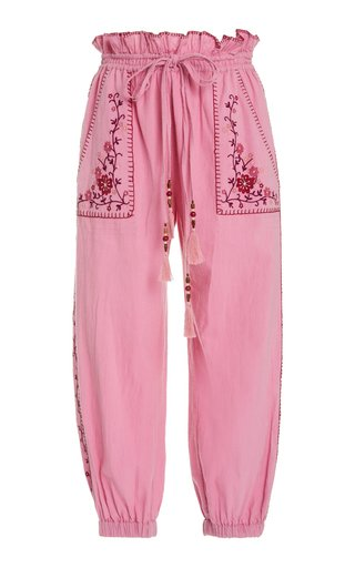 Saunders Embroidered Cotton Tapered Pants