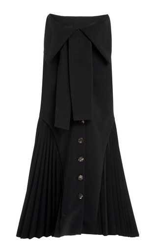 Bow-Detailed Pleated Cady Midi Skirt