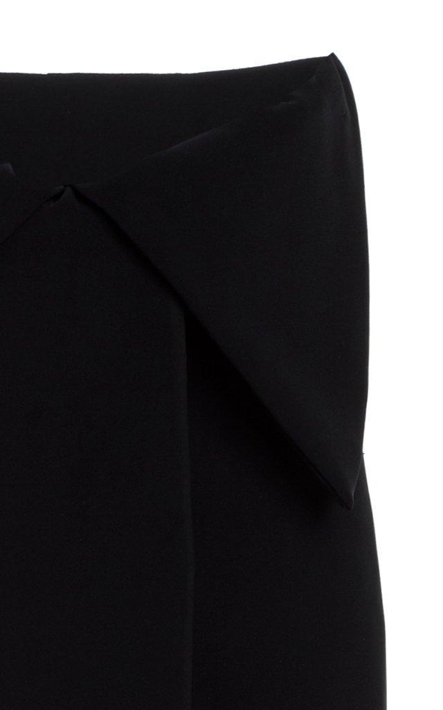 Bow-Detailed Pleated Cady Midi Skirt