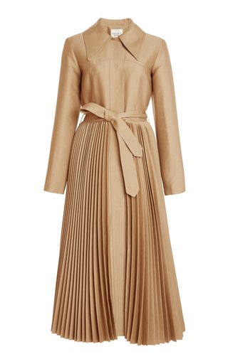 Pleated Wool-Silk Coat Dress