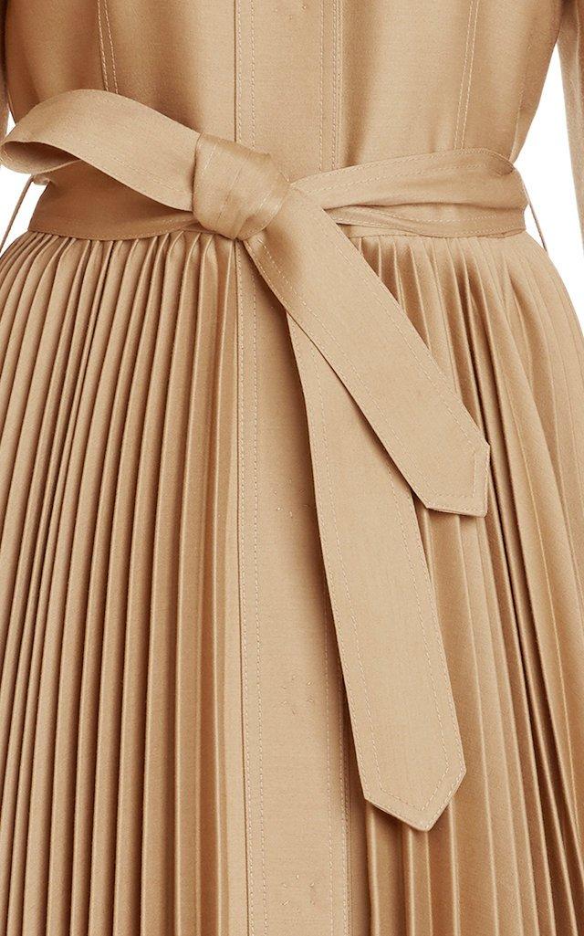 Pleated Wool-Silk Coat Dress