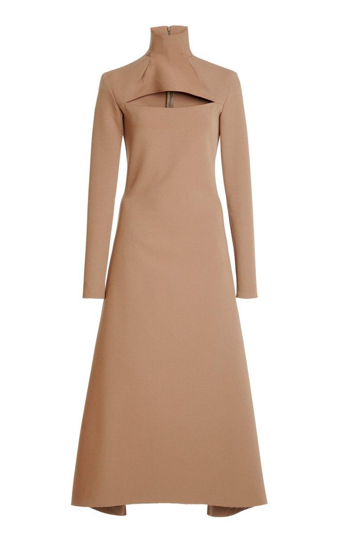 Cutout Stretch-Crepe Turtleneck Midi Dress