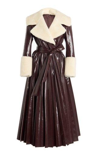 Faux Fur-Trimmed Vegan Leather Dress Coat