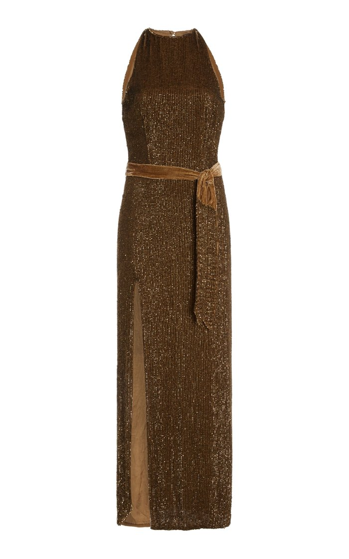 Tzilly Sequin-Embellished Belted Jersey Dress