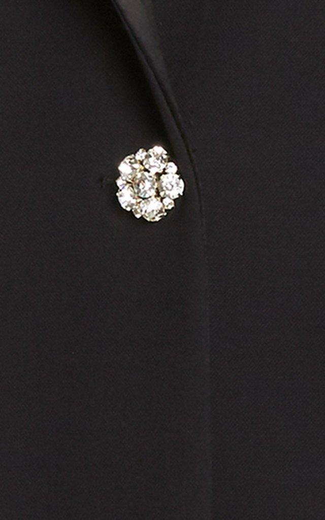 Satin-Trimmed Wool-Crepe Tuxedo Coat