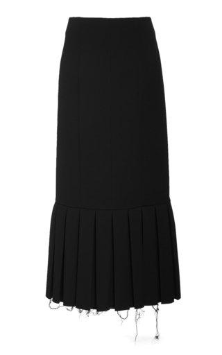 Pleated Wool-Crepe Pencil Skirt
