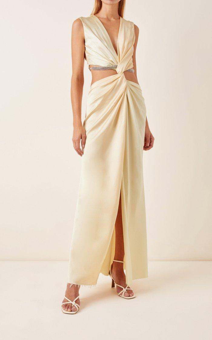 Cutout Twisted Satin Maxi Dress