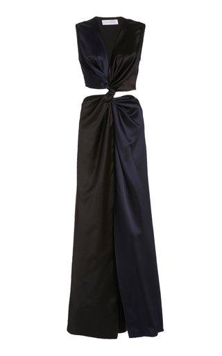 Twist Cut-Out Satin Midi Dress