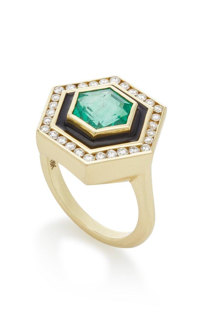 Museum Series Emerald 18K Yellow Gold Hexagonal Ring