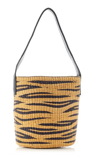 Leather-Trimmed Zebra Straw Tote