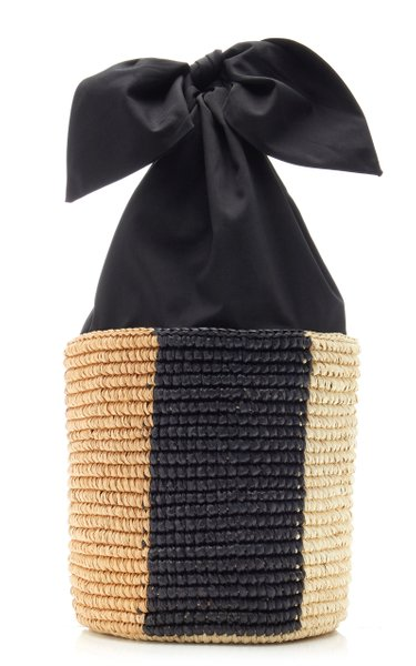 Canvas-Lined Straw Bucket Bag