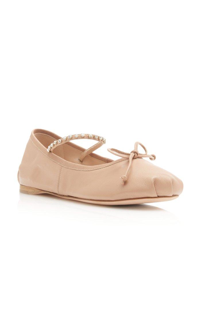 Crystal-Embellished Leather Ballet Flats