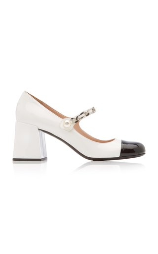 Patent Leather Cap-Toe Mary Jane Pumps