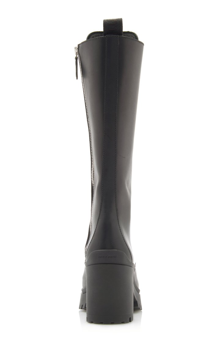 Lace-Up Leather Knee-Length Combat Boots