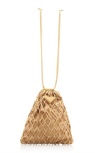 Prada Faux Leather Mesh Bag In Gold