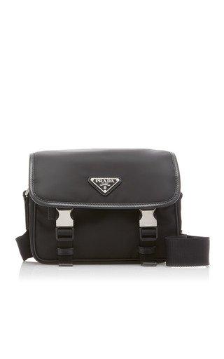 Nylon and Saffiano Leather Shoulder Bag