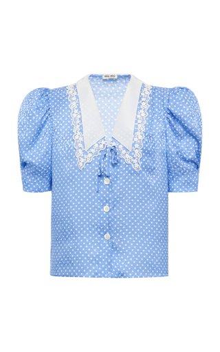 Polka-Dot Satin Jacquard Puff-Sleeve Top