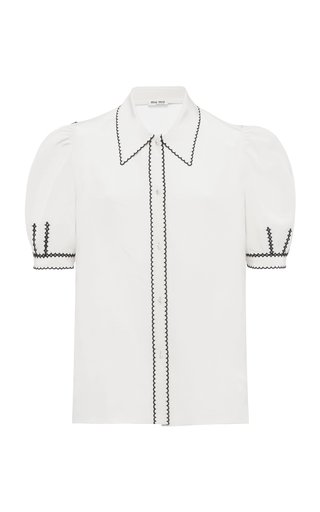Embroidered Crepe De Chine Puff-Sleeve Top