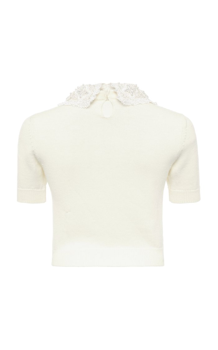 Pearl-Embellished Wool Cropped Top