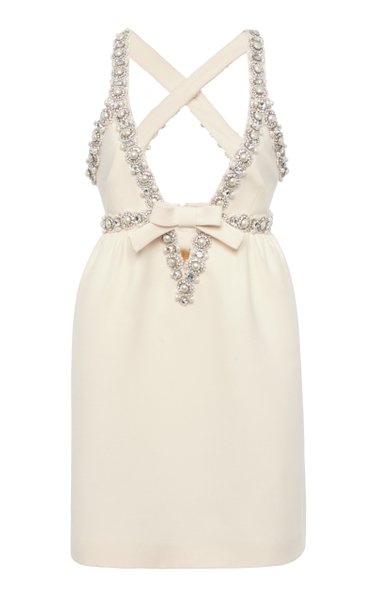 Pearl and Crystal Embellished Crepe Mini Dress