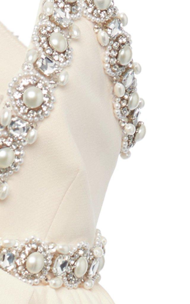 Pearl and Crystal Embellished Crepe Mini Dress