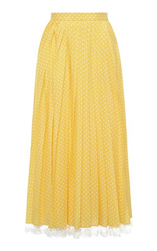 Lace-Trimmed Pleated Polka-Dot Crepe Midi Skirt