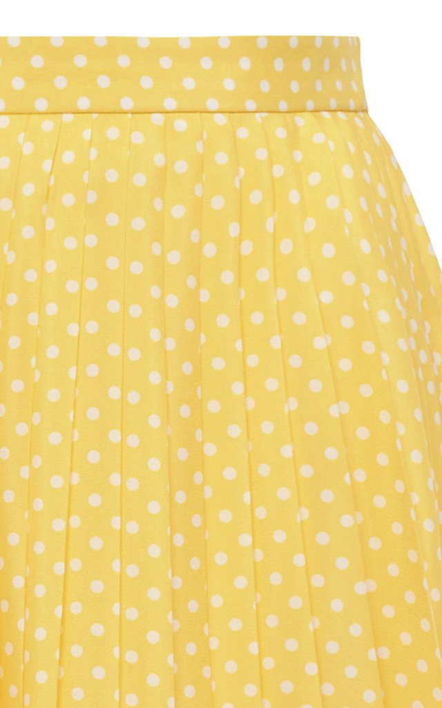 Lace-Trimmed Pleated Polka-Dot Crepe Midi Skirt