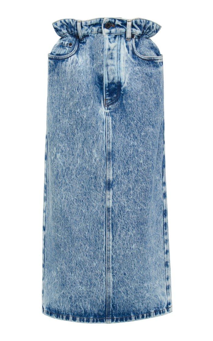 Marbled Denim Midi Skirt