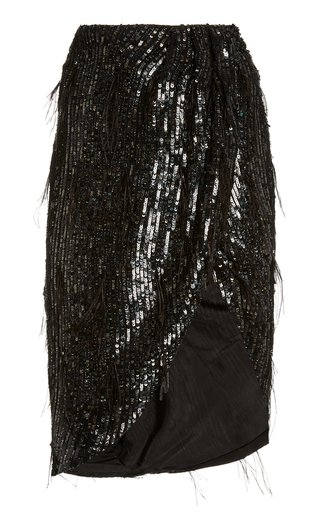 Feather-Embellished Sequined Skirt