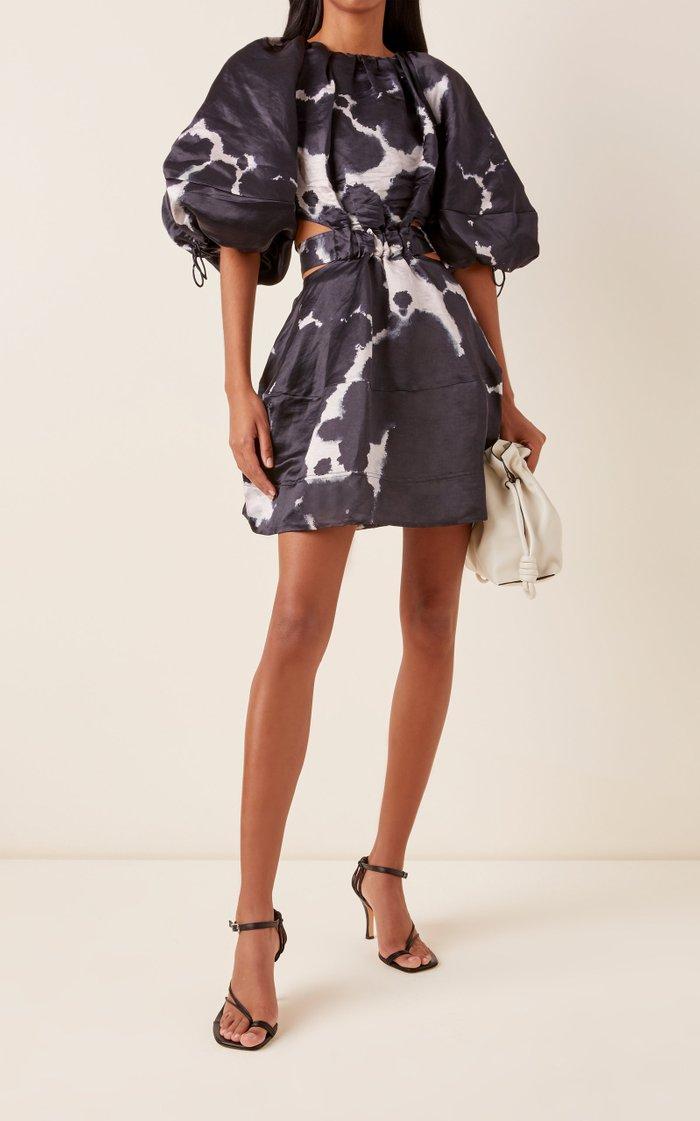 Oxidized Cutout Linen-Blend Mini Dress
