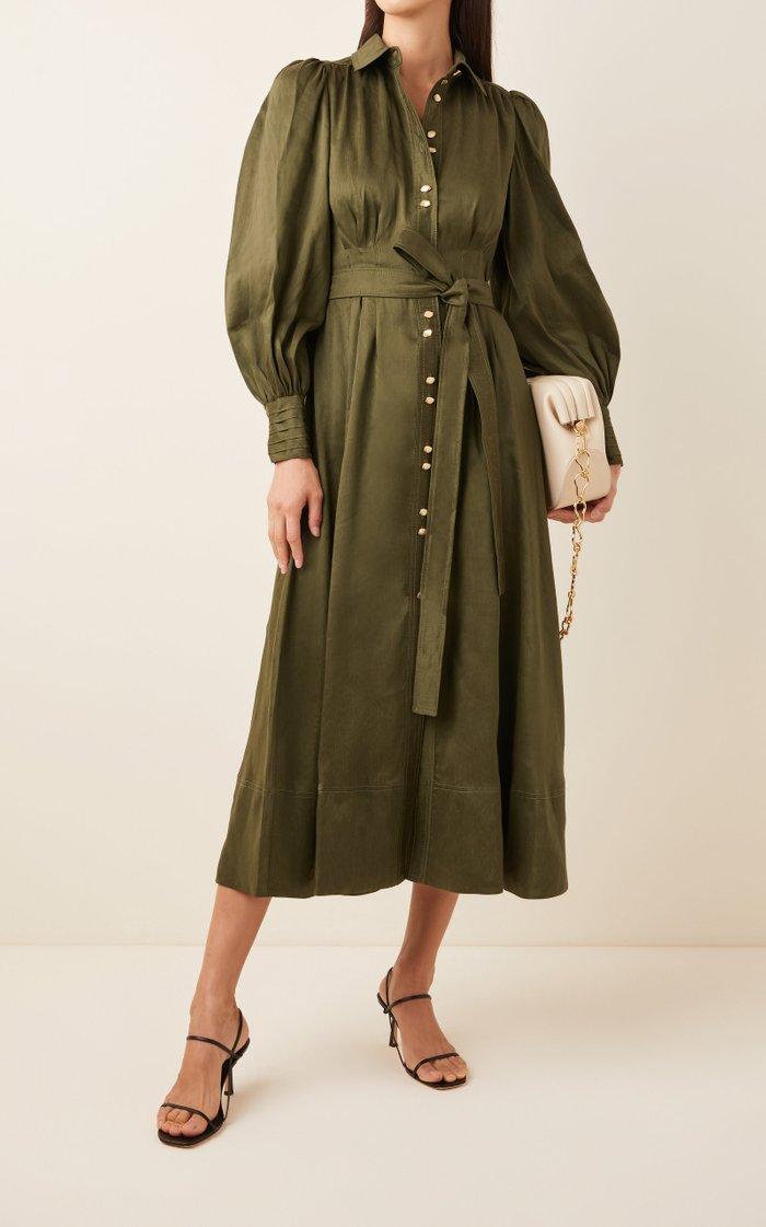 Oxidized Pleated Linen-Silk Shirt Dress