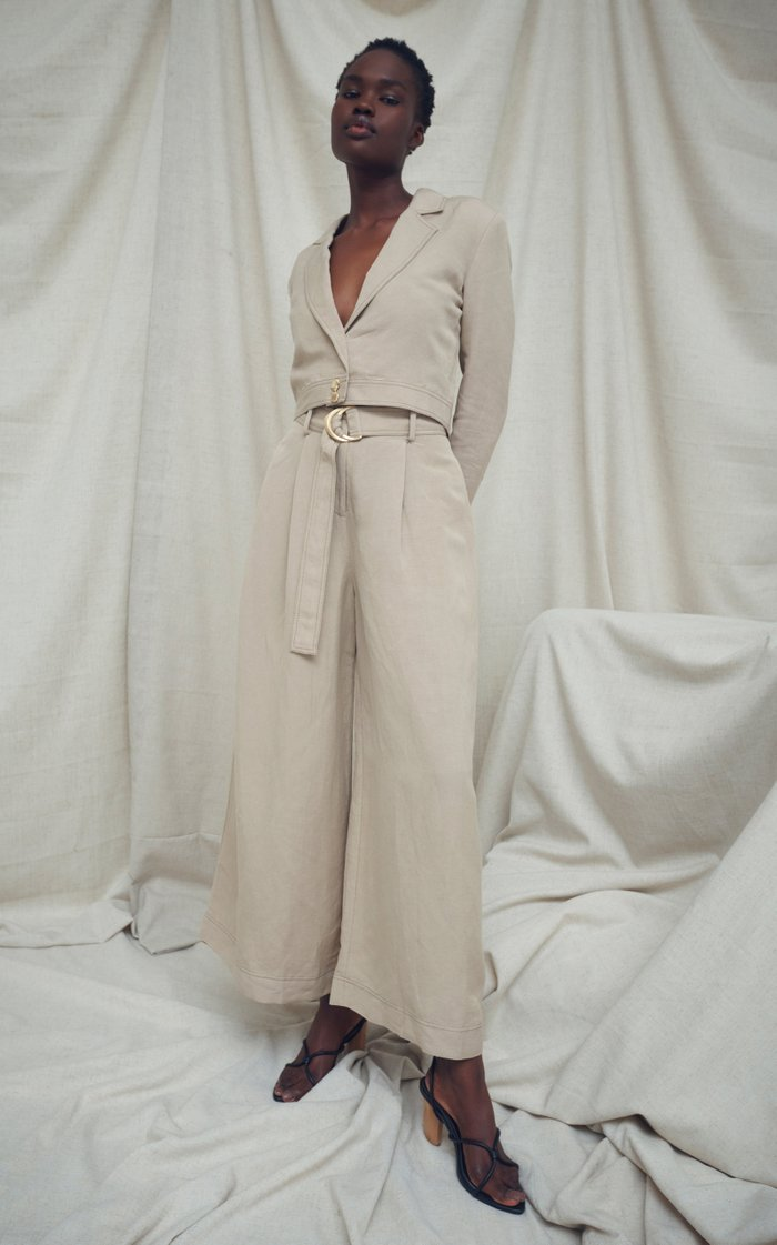 Consonance Linen-Blend Cropped Blazer