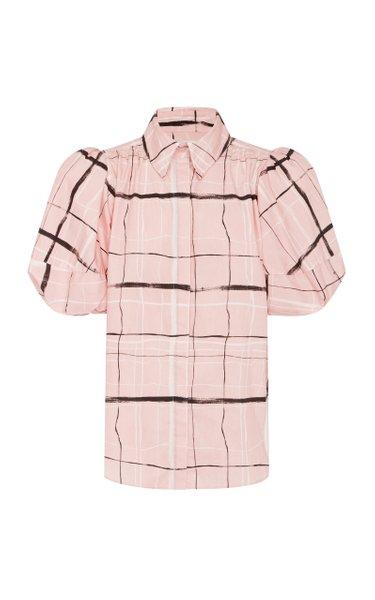 Mottled Cotton-Plaid Shirt