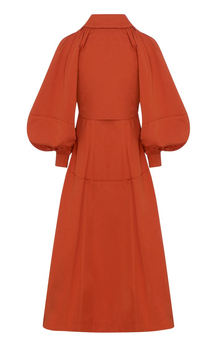 Interlace Tie-Accented Gabardine Trench Coat Dress