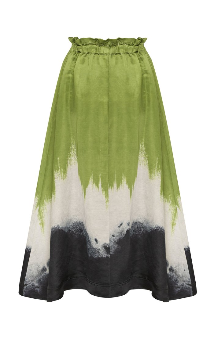 Arcadian Tie-Dyed Linen and Silk-Blend Skirt