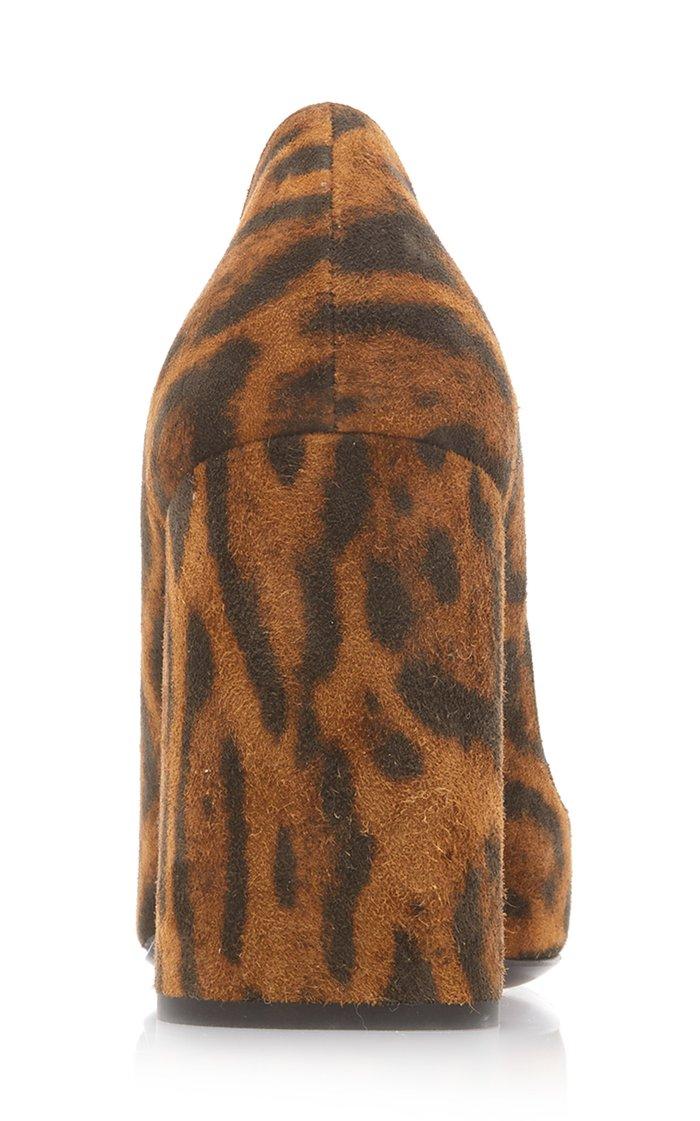 Logo-Detailed Leopard Suede Pumps