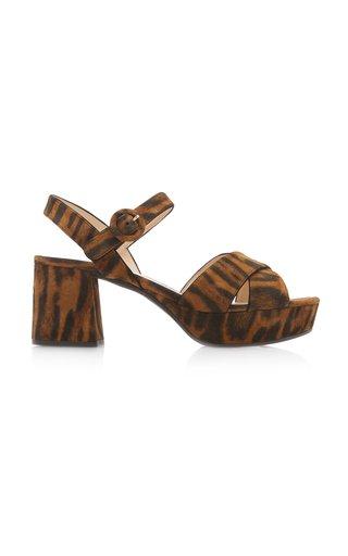 Leopard-Print Suede Platform Sandals