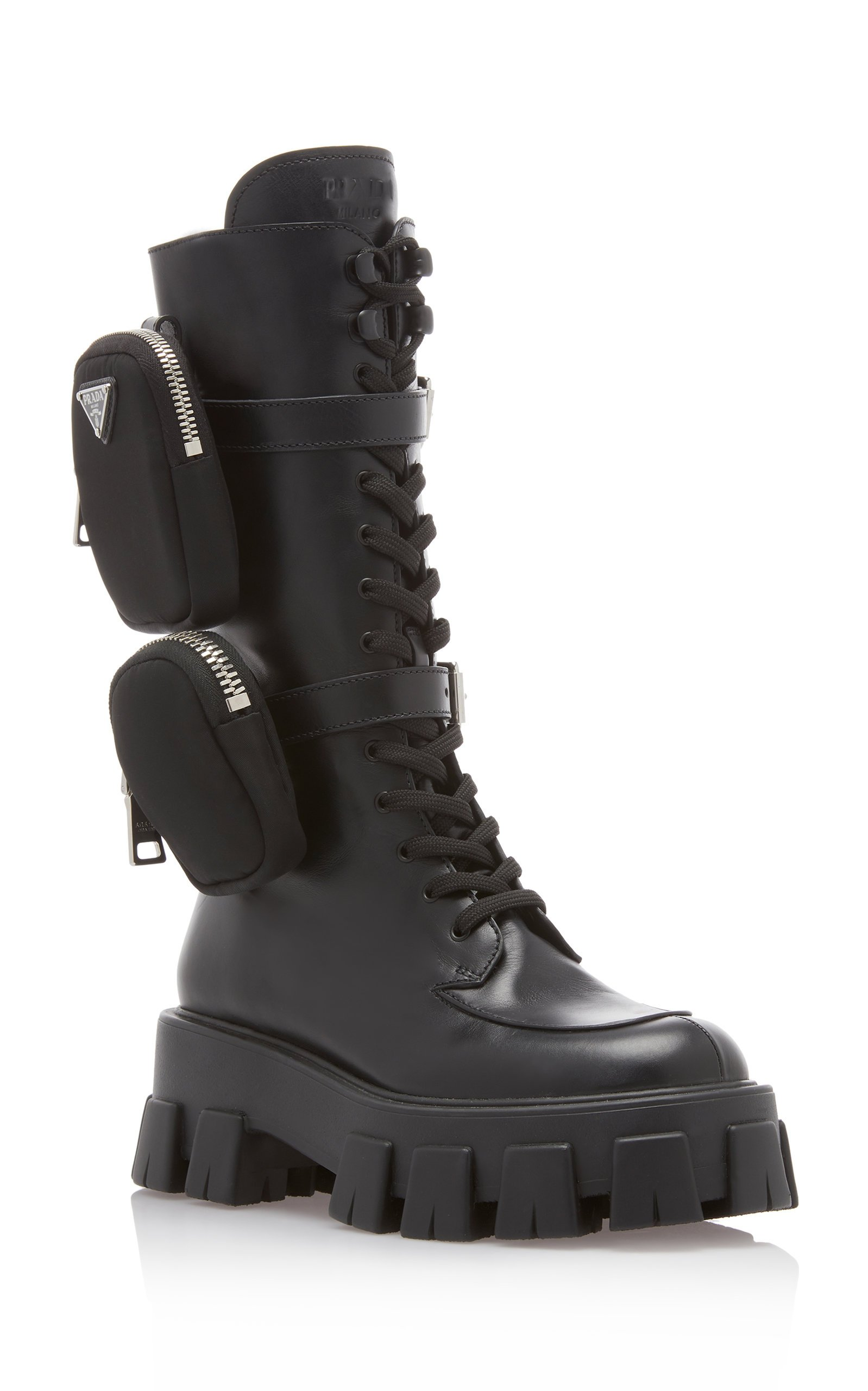 Pouch-Detailed Leather Lace-Up Boots By
