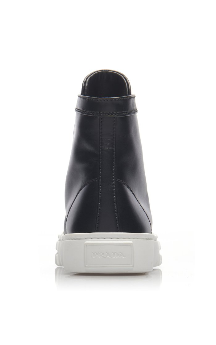 Logo-Detailed Leather High-Top Sneakers