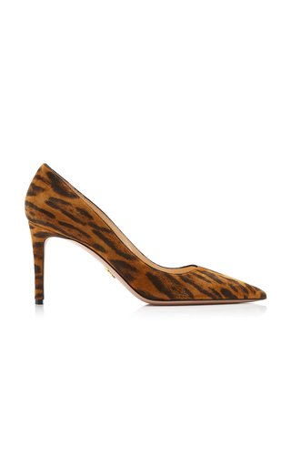 Leopard Print Pointed-Toe Leather Pumps
