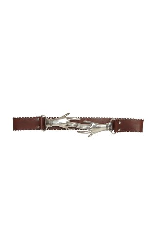 Interlocking Hands Leather Belt