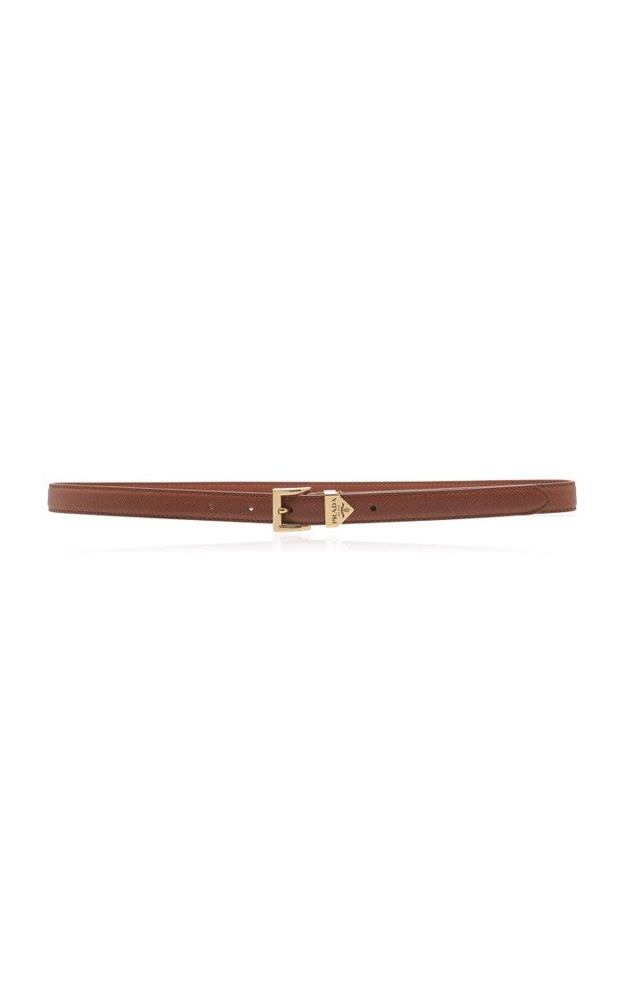 Logo-Detailed Saffiano Leather Belt
