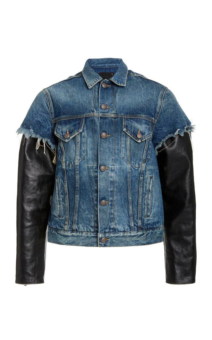 Sky Leather-Inset Denim Trucker Jacket
